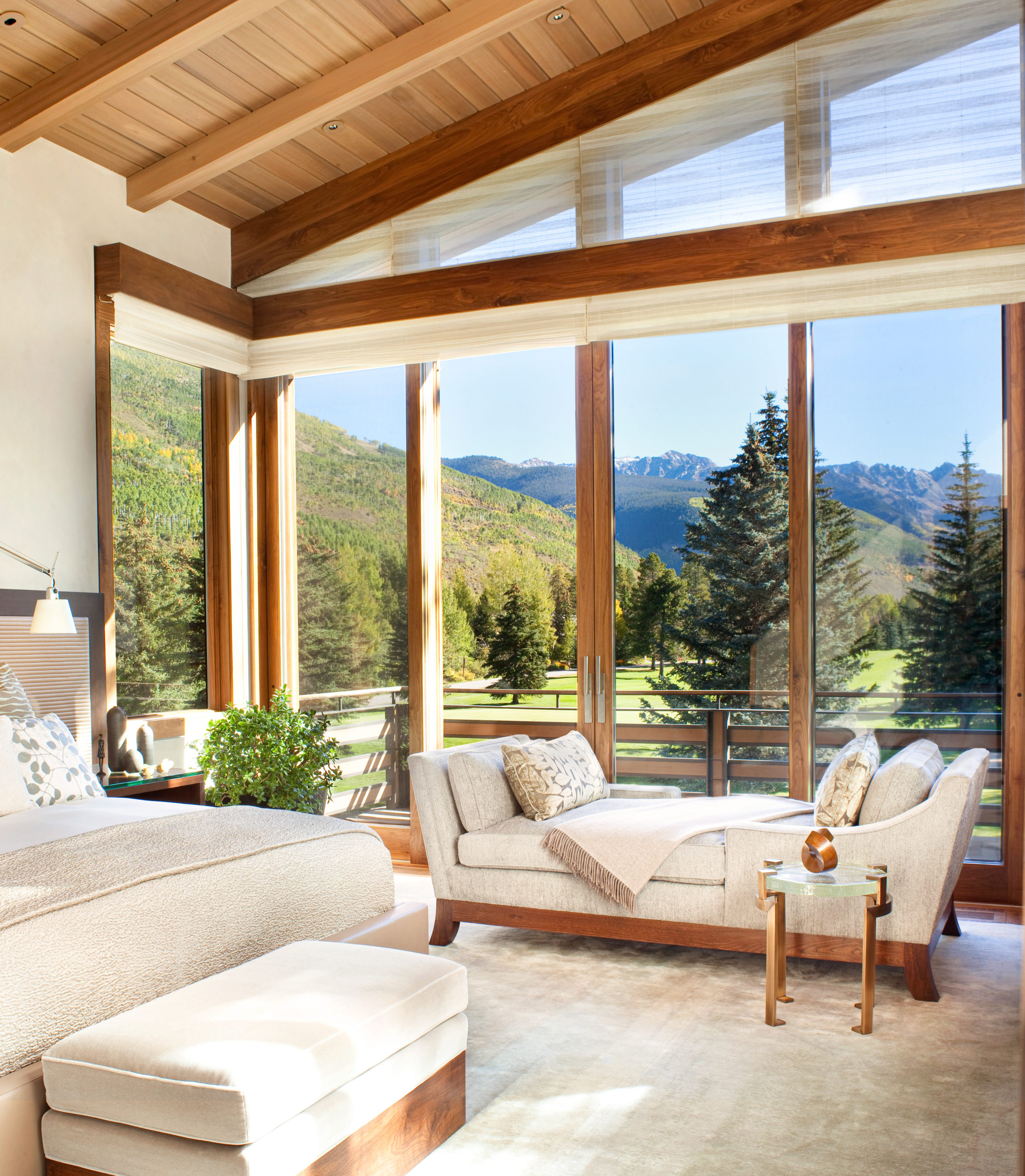 Serene Bedroom with Mountain View